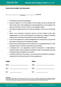 Form 21 – Remote Area Holiday Travel v1