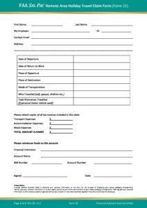 Form 22 – Remote Area Holiday Travel Claim Form v1