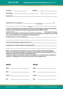 Form 25 – Living Away from Home Allowance v1